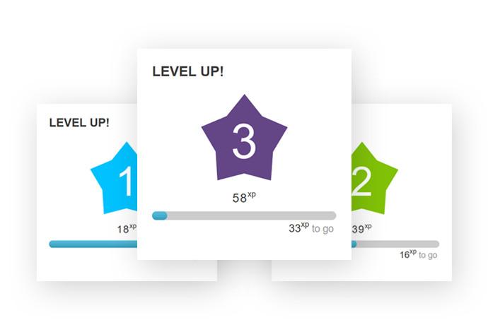 Display of levels and progress bars