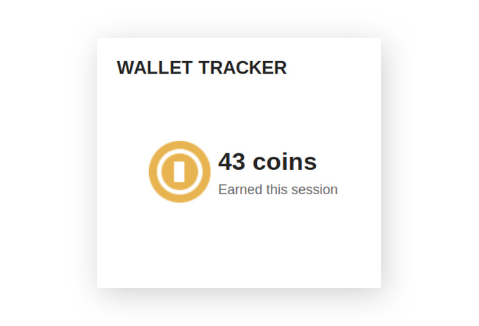 Shows the amount of coins earned by the user during a session.